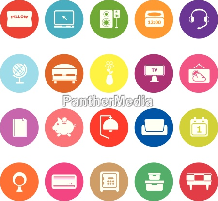 bedroom flat icons on white background