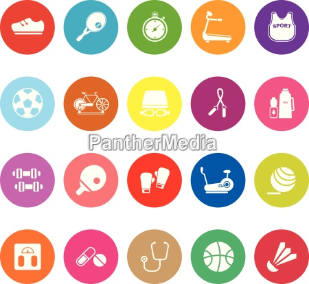 fitness sport flat icons on white