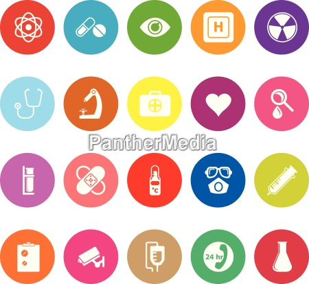 general hospital flat icons on white