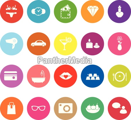 lady related item flat icons on