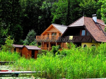 bathhouses on lake klopein in carinthia