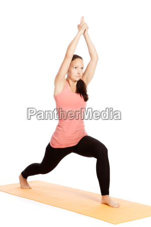 yoga exercise on the mat virabhadrasana