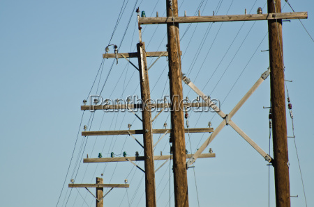 utility poles standing against a blue