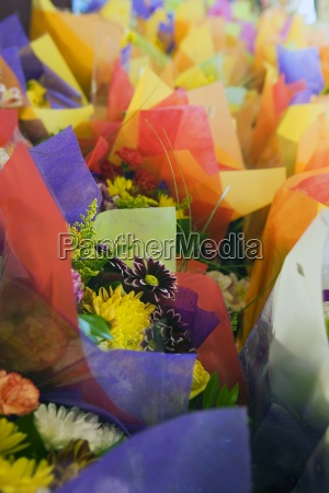multi coloured flower bouquets on display