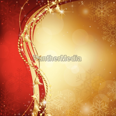 gold christmas background with snowflakes and