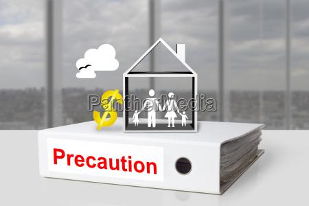 office binder family house symbol precaution