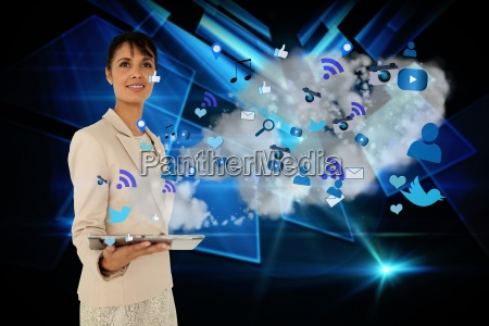 businesswoman holding tablet with cloud and