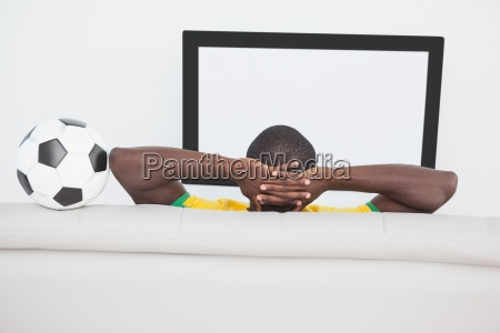 brazilian football fan watching the tv