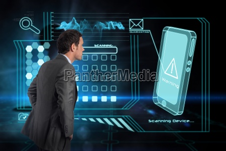 composite image of serious businessman with