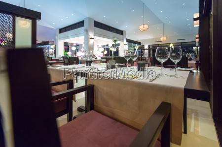 elegant interior of empty asian restaurant