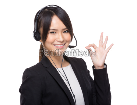 asian female customer services with ok