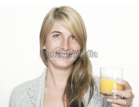 woman, with, orange, juice - 12866340