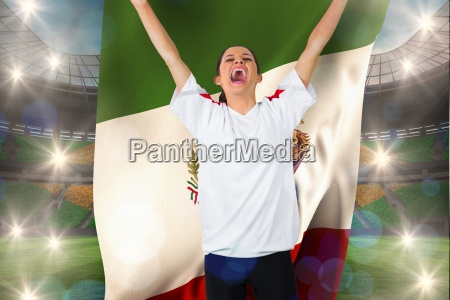 football fan in white cheering holding