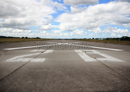 closeup on runway number at airfield