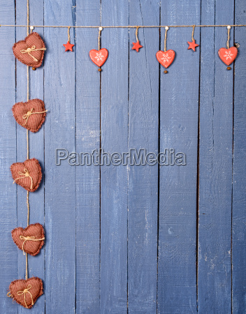 christmas decorations on a blue wooden