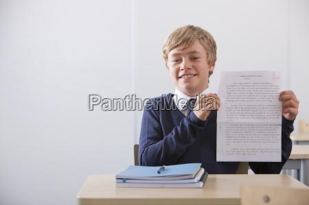 portrait of proud student in school