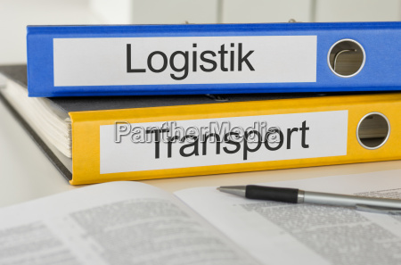 file folders labeled logistics and transportation