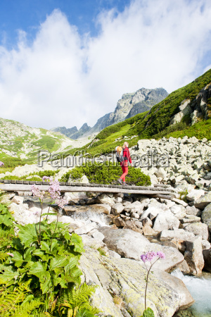 woman backpacker in great cold valley