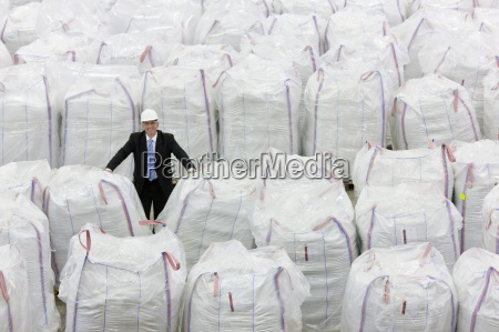 portrait of confident businessman among large