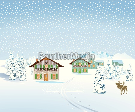 snow landscape with houses