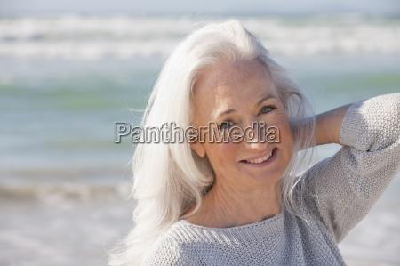 close up portrait of smiling senior