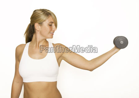 weight training young woman