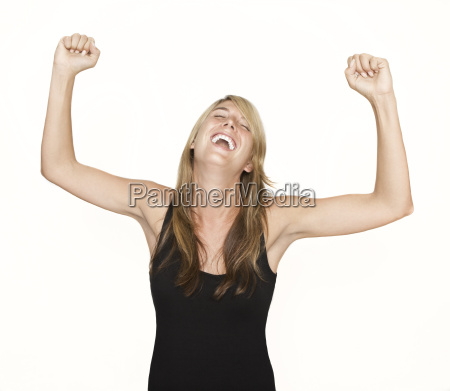 woman cheering with arms in the