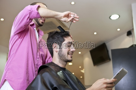 a male client looking at a