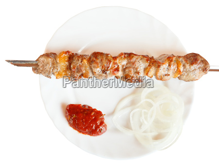 top view of skewer with lamb