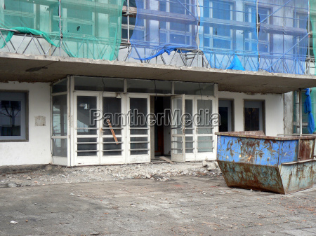 construction site with waste container for