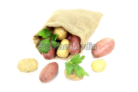 colorful potatoes in the jute bag