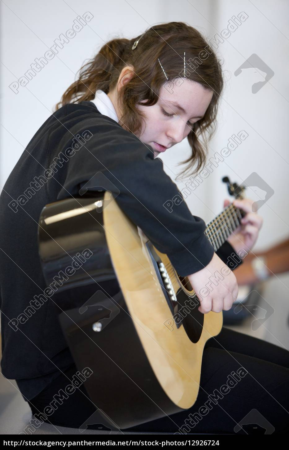 girl, practicing, guitar - 12926724