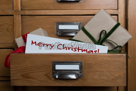 christmas gifts in the drawer of