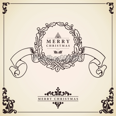 christmas wreath card vector