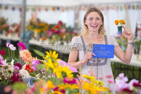 exhibitor with prize winning flower at