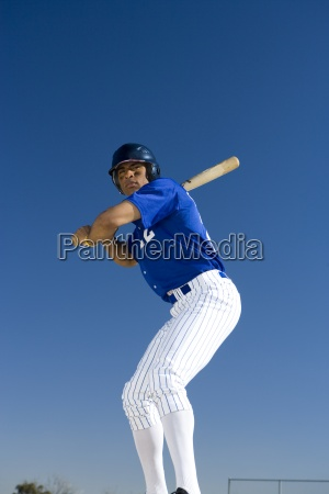 baseball, batter, standing, against, clear, blue - 12939280