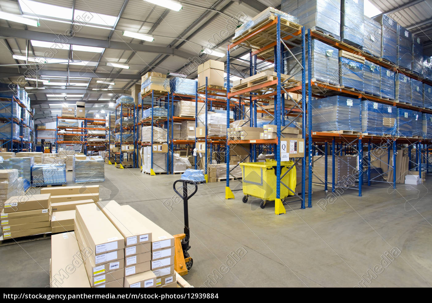 cardboard, boxes, and, pallets, in, warehouse - 12939884