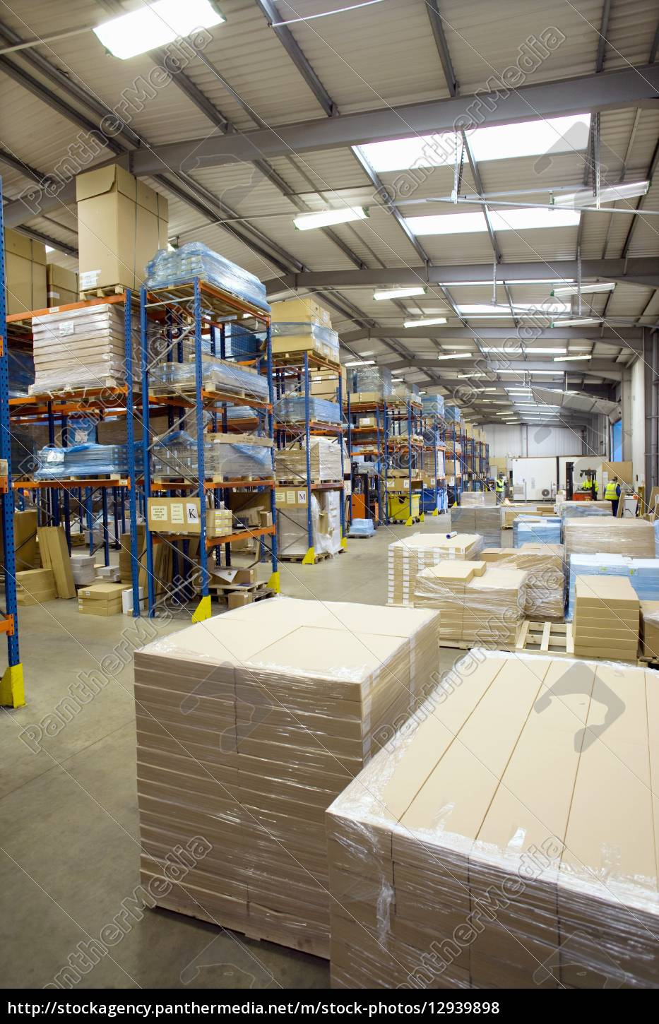 cardboard, boxes, and, pallets, in, warehouse - 12939898