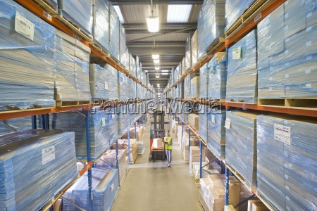 warehouse, worker, inspecting, box, on, forklift - 12939930