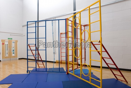 climbing equipment and exercise mats in