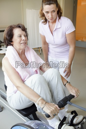 a senior woman working out on