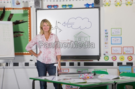 teacher standing near board with wind