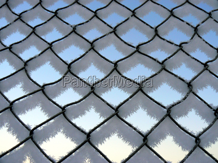 wire mesh fence with ice crystals