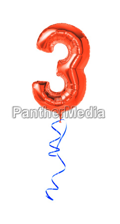 red balloon with ribbon number