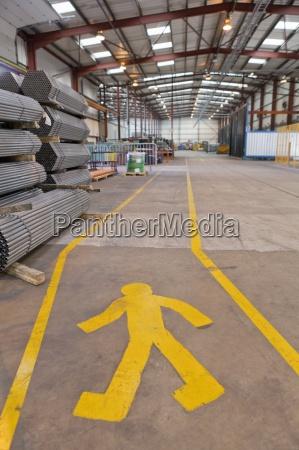 pedestrian walkway in warehouse