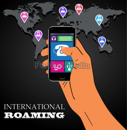 mobile phone international roaming vector