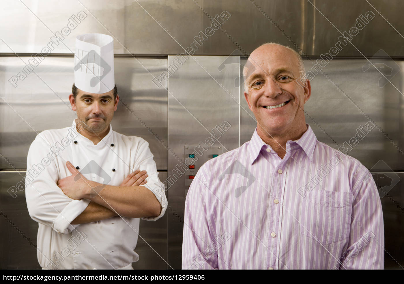 male, chef, and, restaurant, manager, standing - 12959406