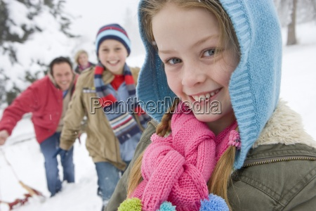 portrait of young girl in winter