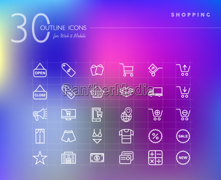 shopping retail outline icons set