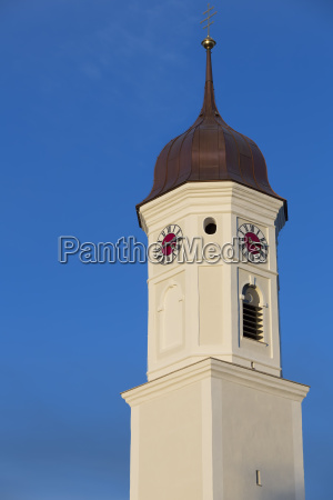 renovated church tower in upper bavaria